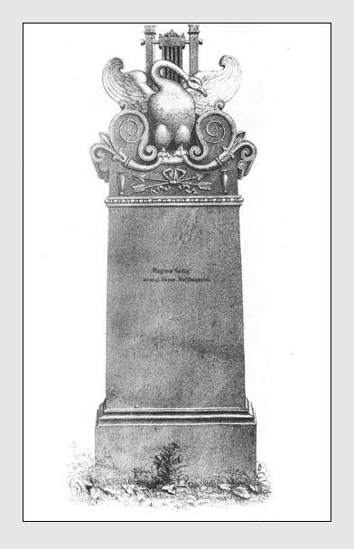Grab der Familie Lang auf dem Alten Südfriedhof München. Abbildung aus: Auswahl der vorzüglichsten Denkmäler des Münchner Kirchhofes. 2. Band. München, 1841.