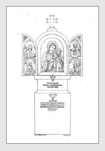 Grab der Familie Eberhard auf dem Alten Südfriedhof München. Abbildung aus: Auswahl der vorzüglichsten Denkmäler des Münchner Kirchhofes. 3. Band. München, 1841.