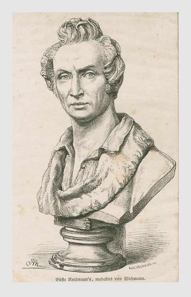 August Neumann: Karl Rottmann, nach einer Portraitbüste von Ludwig Wilhelm Wichmann. Porträtsammlung des Münchner Stadtmuseums.