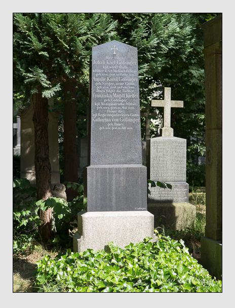 Grab der Familien Gossinger · Kiefer auf dem Alten Südfriedhof München (Juni 2014)