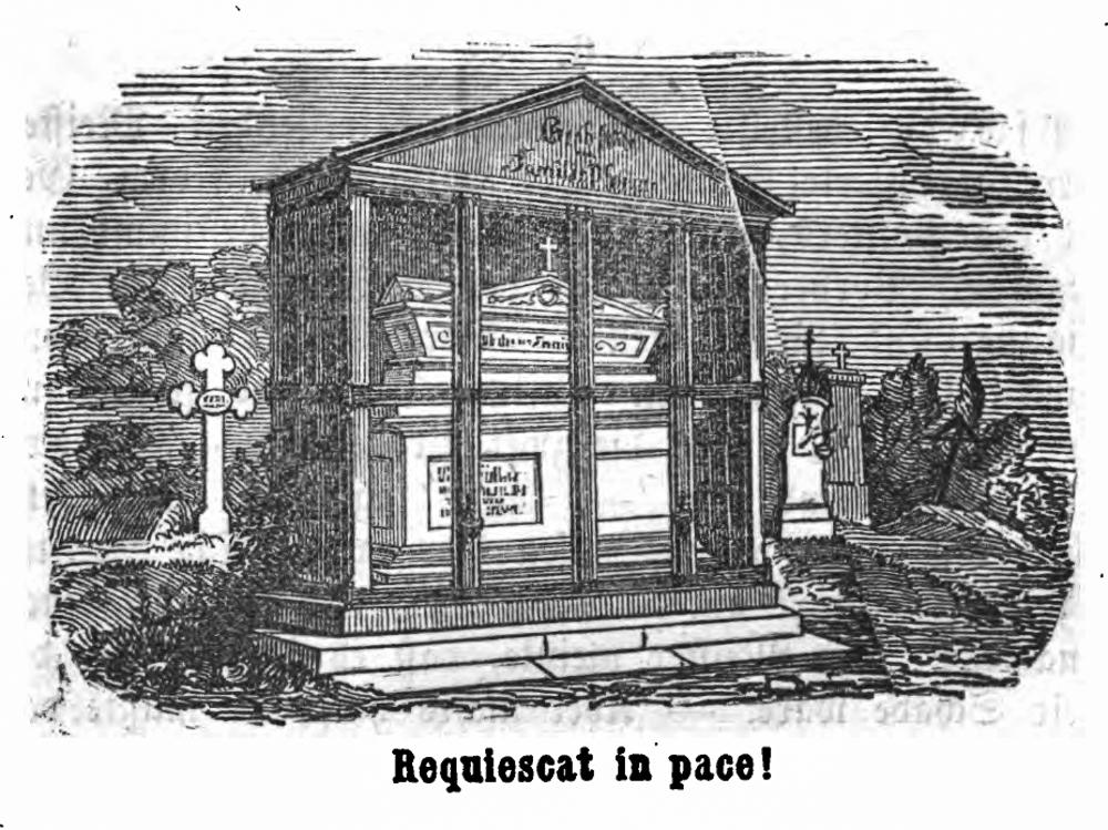 Grab der Familie Pschorr auf dem Alten Südfriedhof München. Abbildung aus: Gambrinus. Humoristisches Münchener Taschenbuch für das Sudjahr 1853/54. München, 1853.