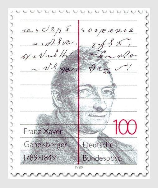 Gedenkmarke an Franz Xaver Gabelsberger vom 5.5.1989 nach dem Entwurf von Bruno K. Wiese.
