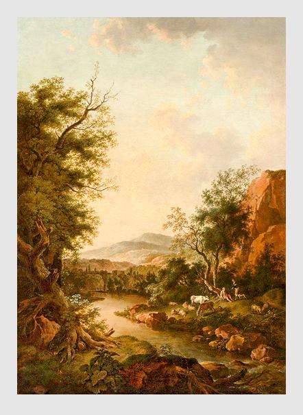 Ferdinand Kobell: Flusslandschaft mit Hirten und ihrer Herde. 1784. Bayerische Staatsgemäldesammlungen – Neue Pinakothek München.