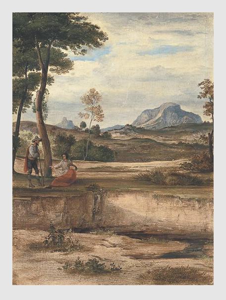 Ferdinand von Olivier: Campagnalandschaft mit dem Soracte. ca. 1825–1830. Bayerische Staatsgemäldesammlungen – Neue Pinakothek München.