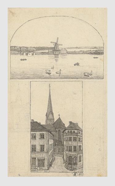 Julius Oldach: Blick auf die Aussenalster / Blick auf die Petrikirche in Hamburg von Osten. 1829. Bildarchiv Hamburger Kunsthalle.