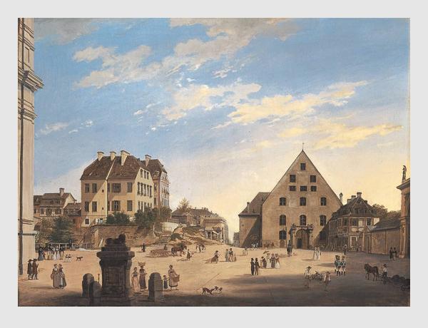 Domenico Quaglio: Die Alte Reitschule mit dem Café Tambosi im Jahr 1822. Bayerische Staatsgemäldesammlungen – Neue Pinakothek München.