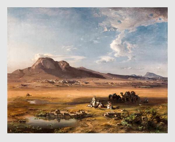 Karl Rottmann: Korinth mit Akrokorinth (1847). Bayerische Staatsgemäldesammlungen – Neue Pinakothek München.