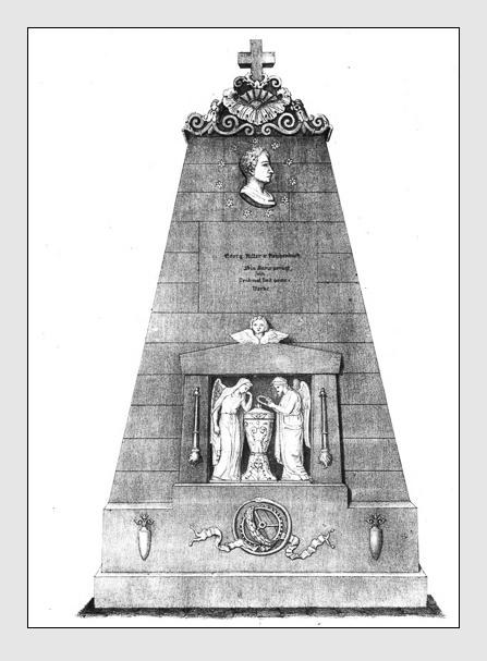 Grab der Familie Reichenbach auf dem Alten Südfriedhof München. Abbildung aus: Auswahl der vorzüglichsten Denkmäler des Münchner Kirchhofes. 2. Band. München, 1841.