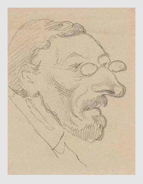 Karikatur: Max Emanuel Ainmiller. ca. 1860. Porträtsammlung des Münchner Stadtmuseums.