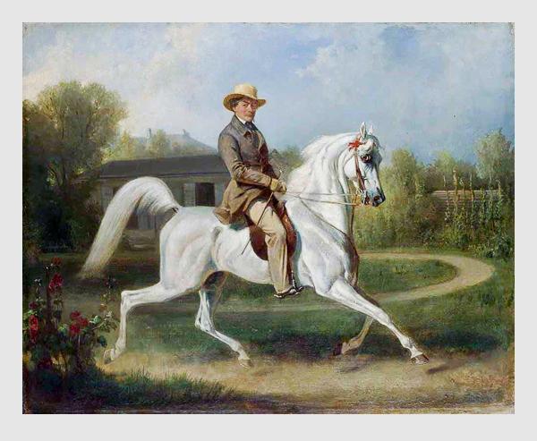 Franz Adam: Albrecht Adam auf seinem arabischen Schimmel »Rhezia« (1851). Porträtsammlung des Münchner Stadtmuseums.