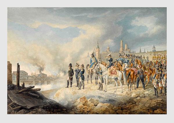 Albrecht Adam: Napoleon und sein Stab auf einer Anhöhe vor dem brennenden Moskau (1812).