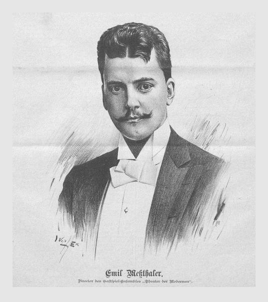 Emil Meßthaler. Direktor des Gastspiel-Ensembles »Theater der Modernen«. Abbildung von Jan Vilímek aus »Der Humorist Nr. 20«. Wien, 10. Juli 1894.