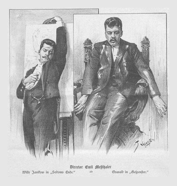 Emil Meßthaler als Willy Janikow in »Sodoms Ende« und Oswald in »Gespenster«. Abbildung von Jan Vilímek aus »Der Humorist Nr. 20«. Wien, 10. Juli 1894.