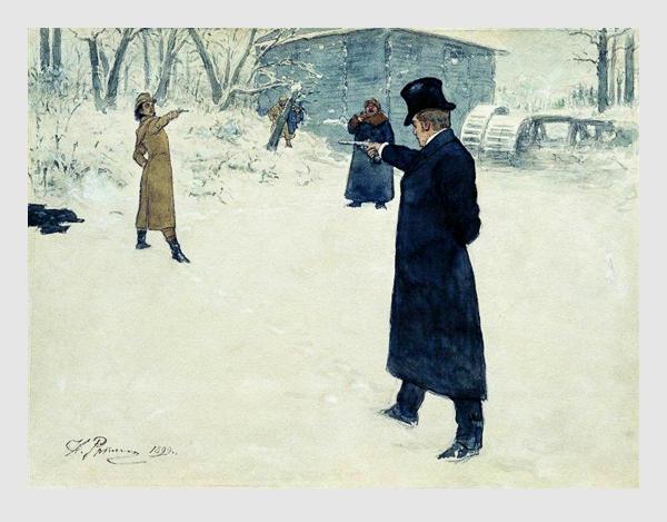Symbolbild: Ilja Repin: Duell zwischen Onegin und Lenski. 1899.