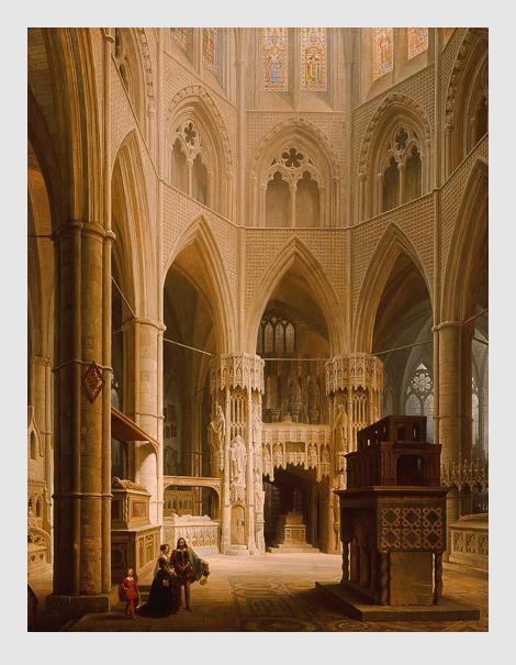 Max Emanuel Ainmiller: Der Chor der Westminster Abbey in London mit dem Grabmal Eduards des Bekenners. 1851. Bayerische Staatsgemäldesammlungen – Neue Pinakothek München.