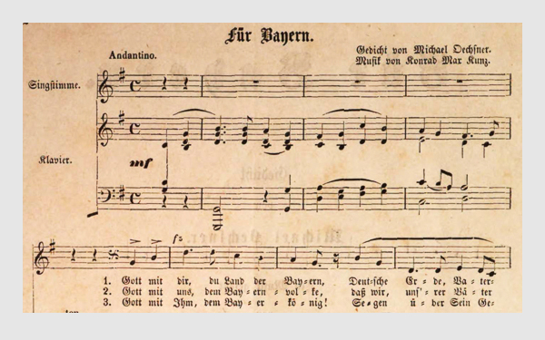 »Für Bayern«. Text von Michael Oechsner, Musik von Konrad Max Kunz. München, 1861.