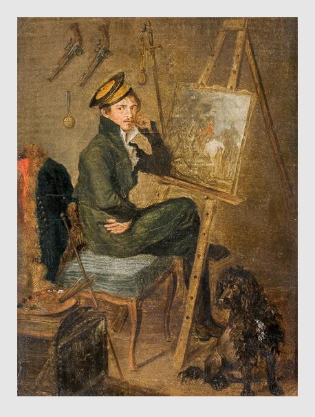 Selbstportrait: Albrecht Adam mit seinem Pudel »Cerberus« (1814).