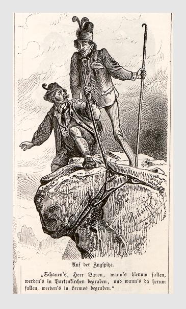 Carl Oswald Rostosky: Auf der Zugspitze. Reisebilder; Fliegende Blätter 44 (1866).