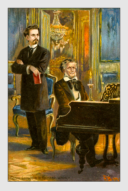 König Ludwig II. und Richard Wagner (Postkarte, ca. 1910)