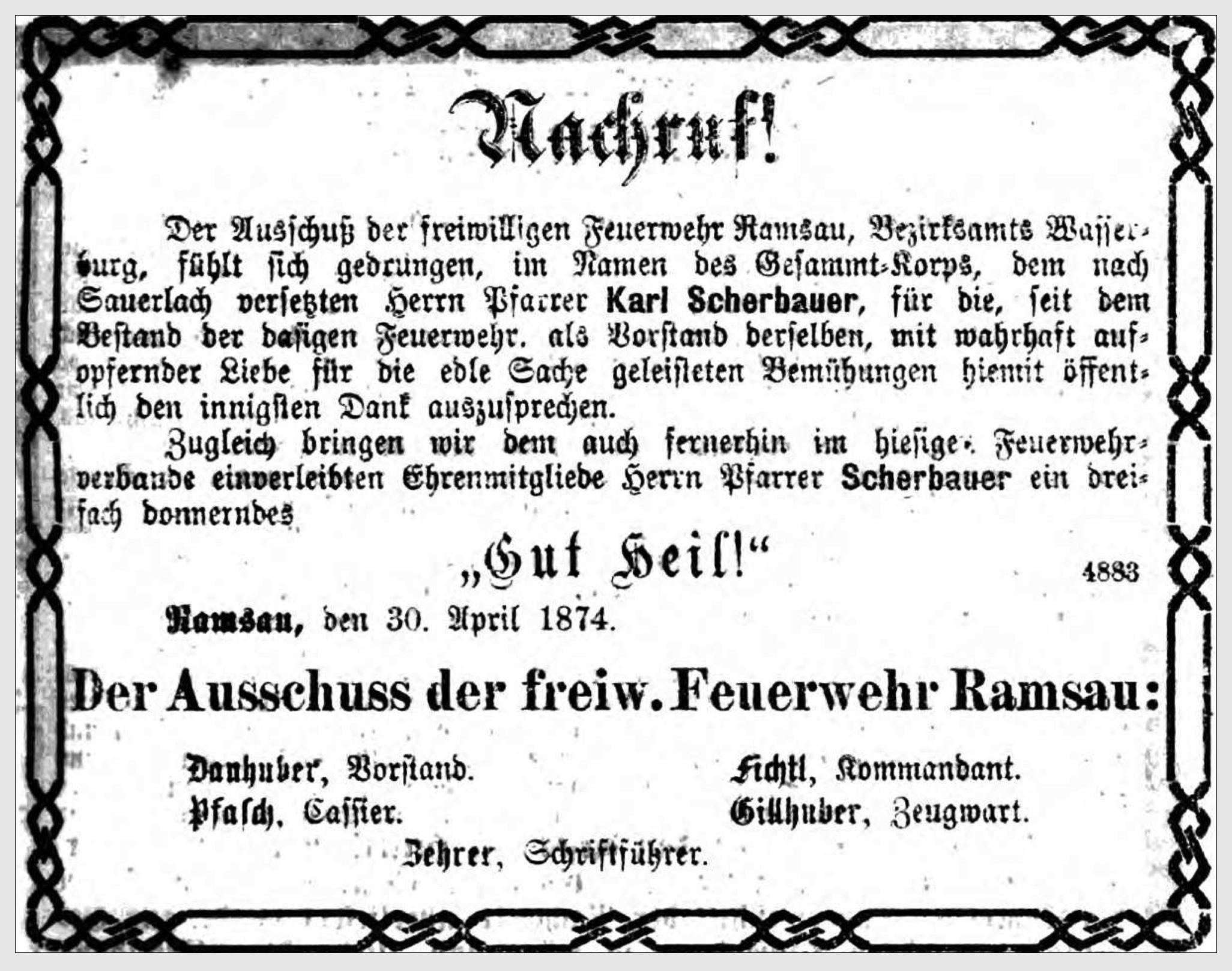 Annonce der Freiwilligen Feuerwehr Ramsau zur Verabschiedung des Pfarrers Scherbauer (Bayerischer Kurier vom 7.5.1874)