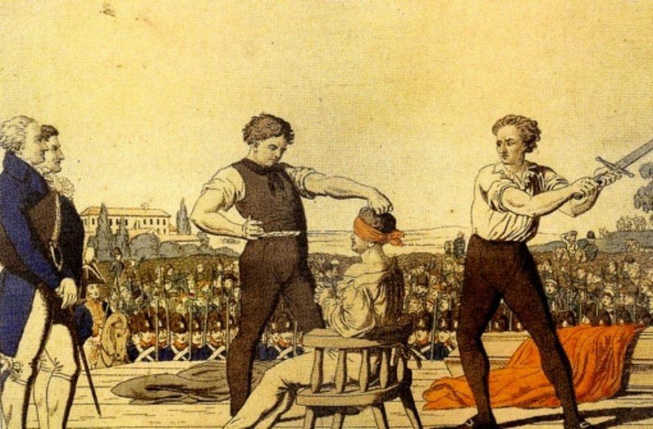 Symboldbild: Die öffentliche Hinrichtung von Karl Ludwig Sand am 20. Mai 1820 am Heidelberger Tor in Mannheim (Kolorierter Kupferstich; um 1820).