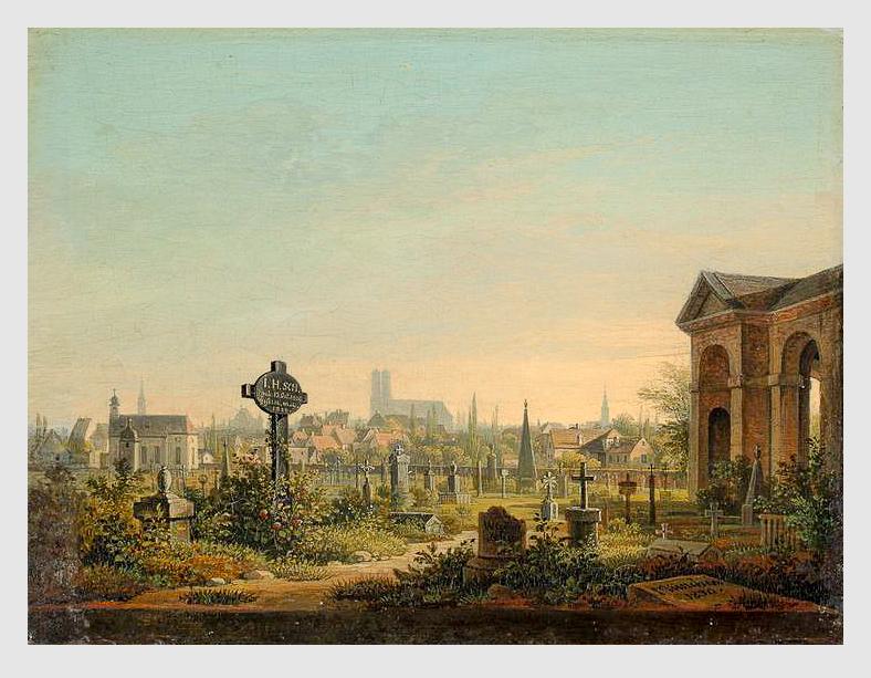 Wilhelm Rudolf Scheuchzer (1803–1866): Der alte Südfriedhof in München (1830). Das Grab des Landschaftsmalers auf dem Alten Südfriedhof ist nicht erhalten.