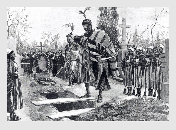 Das Begräbniß der Amazone Kula auf dem südlichen Friedhof in München. Originalzeichnung von Robert Schmid. Abbildung aus: Illustrirte Zeitung vom 3. Dezember 1892.