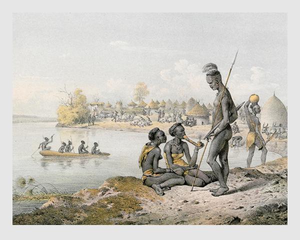 Johann Martin Bernatz: VI. Die Kitsch-Neger. Abbildung aus »Wilhelm von Harnier's Reise am oberen Nil«. Darmstadt, 1866.