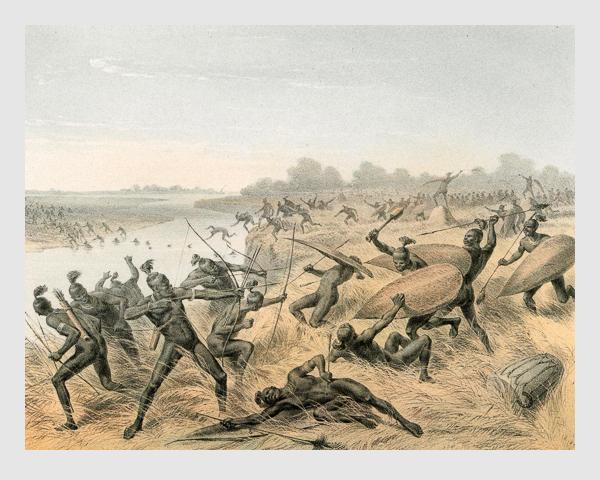 Johann Martin Bernatz: Kampf der Elliab und Tschir. Abbildung aus »Wilhelm von Harnier's Reise am oberen Nil«. Darmstadt, 1866.