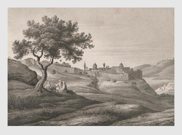 Johann Martin Bernatz: Jerusalem von Süd. Abbildung aus »Bilder aus dem Heiligen Lande«. Stuttgart, 1839.