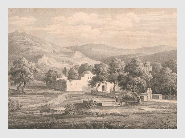 Johann Martin Bernatz: Josephs Grabmal bei Sichem. Abbildung aus »Bilder aus dem Heiligen Lande«. Stuttgart, 1839.
