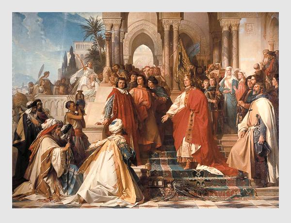 Georg Arthur Freiherr von Ramberg: Der Hof Kaiser Friedrichs II. zu Palermo. 1865. Bayerische Staatsgemäldesammlungen – Neue Pinakothek München.