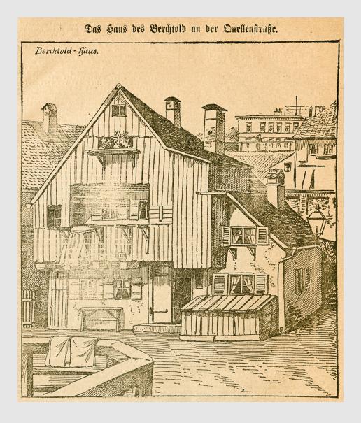 Das Haus des Berchtold an der Quellenstraße. Abbildung aus: Heinrich Storch: »Wer war der Mörder?« / »Illustrirtes Münchener Extrablatt«. München, 1896.