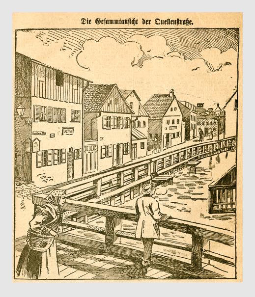 Die Gesamtansicht der Quellenstraße. Abbildung aus: Heinrich Storch: »Wer war der Mörder?« / »Illustrirtes Münchener Extrablatt«. München, 1896.