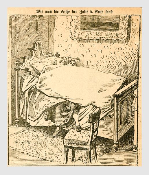 Wie man die Leiche der Julie v. Roos fand. Abbildung aus: Heinrich Storch: »Wer war der Mörder?« / »Illustrirtes Münchener Extrablatt«. München, 1896.
