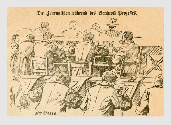 Die Journalisten während des Berchtold-Prozesses. Abbildung aus: Heinrich Storch: »Wer war der Mörder?« / »Illustrirtes Münchener Extrablatt«. München, 1896.