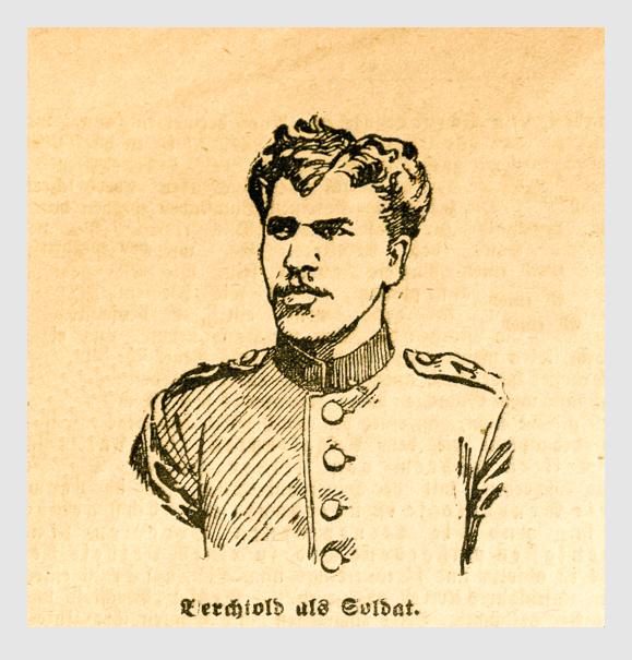 Berchtold als Soldat. Abbildung aus: Heinrich Storch: »Wer war der Mörder?« / »Illustrirtes Münchener Extrablatt«. München, 1896.
