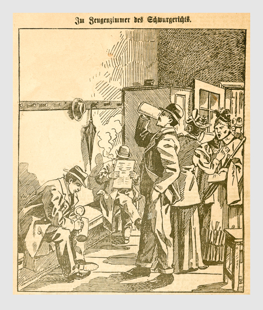 Im Zeugenzimmer des Schwurgerichts. Abbildung aus: Heinrich Storch: »Wer war der Mörder?« / »Illustrirtes Münchener Extrablatt«. München, 1896.