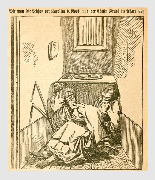 Wie man die Leichen der Karoline v. Roos und der Köchin Gradl im Abort fand. Abbildung aus: Heinrich Storch: »Wer war der Mörder?« / »Illustrirtes Münchener Extrablatt«. München, 1896.