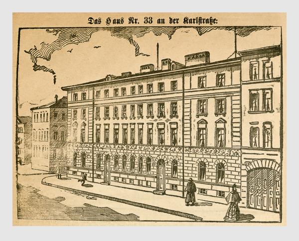 Das Haus Nr. 33 an der Karlstraße. Abbildung aus: Heinrich Storch: »Wer war der Mörder?« / »Illustrirtes Münchener Extrablatt«. München, 1896.
