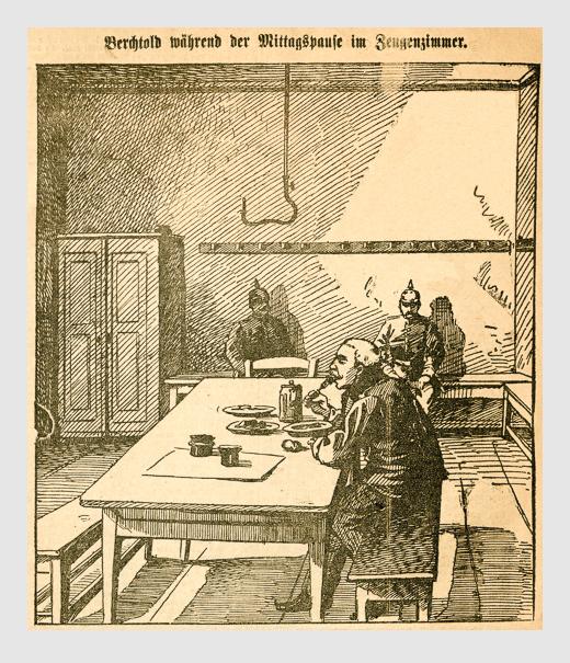 Berchtold während der Mittagspause im Zeugenzimmer. Abbildung aus: Heinrich Storch: »Wer war der Mörder?« / »Illustrirtes Münchener Extrablatt«. München, 1896.