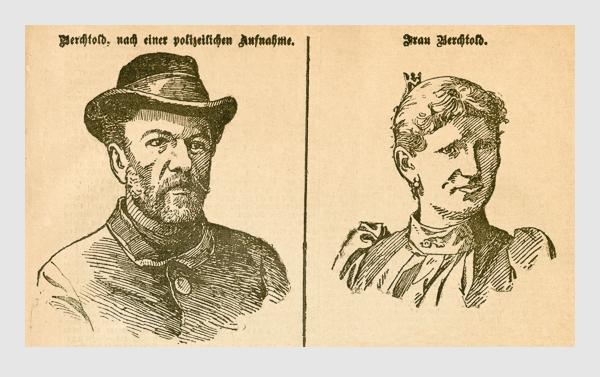 Das Ehepaar Berchtold. Abbildung aus: Heinrich Storch: »Wer war der Mörder?« / »Illustrirtes Münchener Extrablatt«. München, 1896.