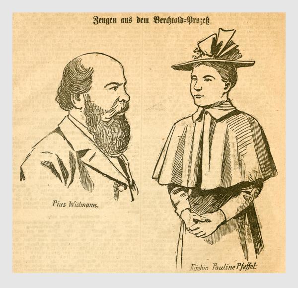 Zeugen aus dem Berchtold-Prozeß. Abbildung aus: Heinrich Storch: »Wer war der Mörder?« / »Illustrirtes Münchener Extrablatt«. München, 1896.