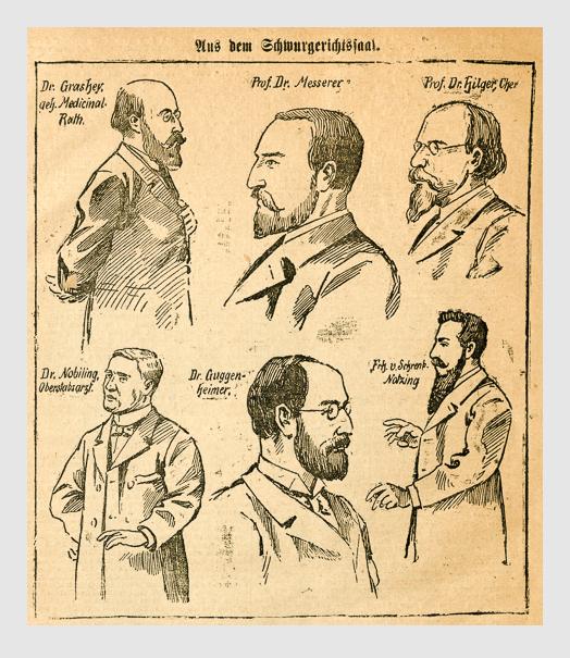 Aus dem Schwurgerichtssaal. Abbildung aus: Heinrich Storch: »Wer war der Mörder?« / »Illustrirtes Münchener Extrablatt«. München, 1896.