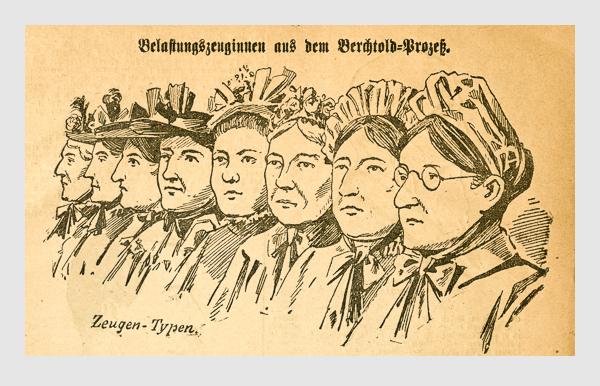 Belastungszeuginnen aus dem Berchtold-Prozeß.. Abbildung aus: Heinrich Storch: »Wer war der Mörder?« / »Illustrirtes Münchener Extrablatt«. München, 1896.