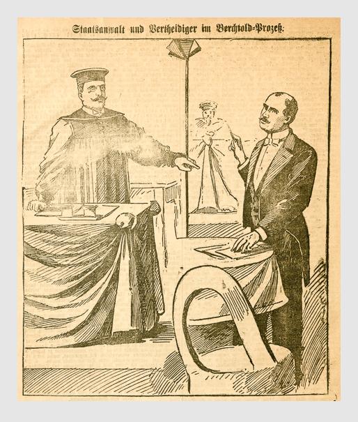 Staatsanwalt und Vertheidiger im Berchtold-Prozeß. Abbildung aus: Heinrich Storch: »Wer war der Mörder?« / »Illustrirtes Münchener Extrablatt«. München, 1896.