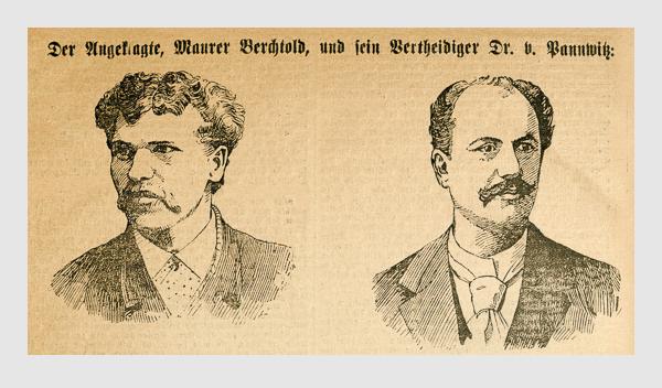 Der Angeklagte, Maurer Berchtold, und sein Vertheidiger Dr. v. Pannwitz. Abbildung aus: Heinrich Storch: »Wer war der Mörder?« / »Illustrirtes Münchener Extrablatt«. München, 1896.
