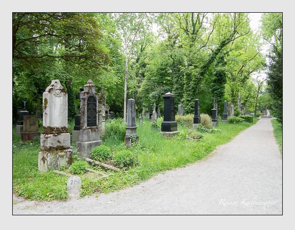 Gräber der Sektion 28 auf dem Alten Südfriedhof München: Westseite (Mai 2020)