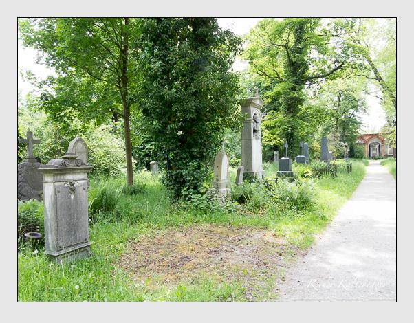 Gräber der Sektion 35 auf dem Alten Südfriedhof München: Westseite (Mai 2020)