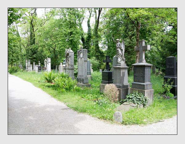 Gräber der Sektion 40 auf dem Alten Südfriedhof München: Westseite (Mai 2020)